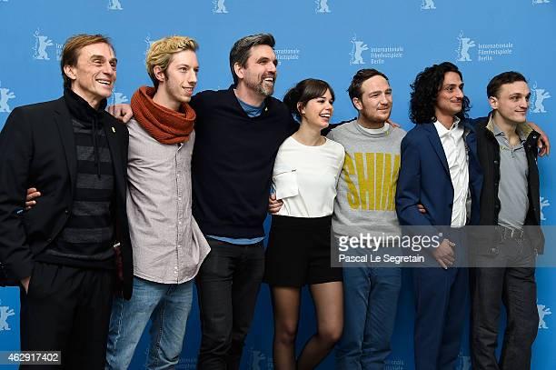 Andre Hennicke, Max Mauff, Franz Rogowski, Sebastian Schipper, Laia Costa, Frederick Lau and Burak Yigit attend the 'Victoria' photocall during the...