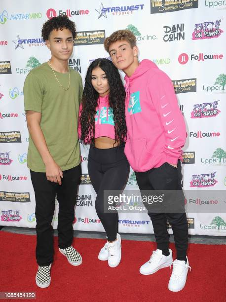 Andre Hill Dani Cohn and Mikey Tua attend Danielle Cohn's Music Video Release Party For Lights Camera Action held at Starwest Studios on January 19...
