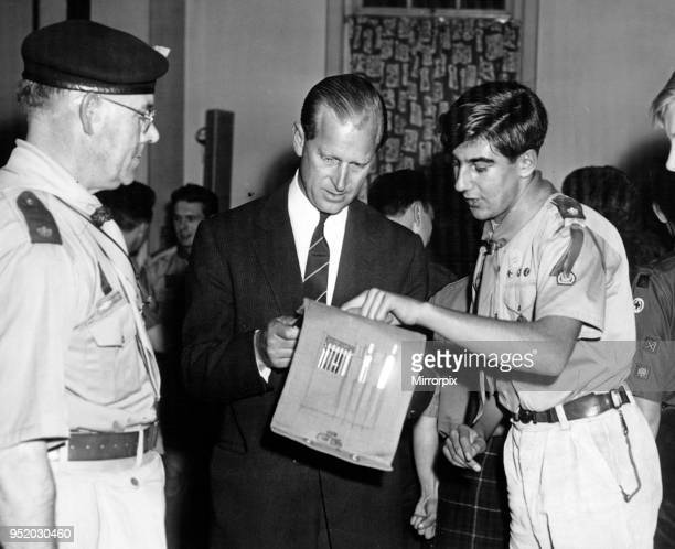 Andre Hobro aged 18 of 279 Birmingham Scout Group at Hall Green explains a map to the Duke of Edinburgh at Blucher Street 24th October 1962