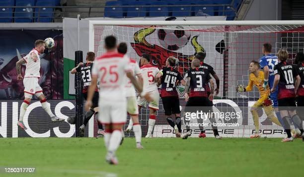 Andre Hoffmann of Fortuna Duesseldorf scoress his team's second goal during the Bundesliga match between RB Leipzig and Fortuna Duesseldorf at Red...