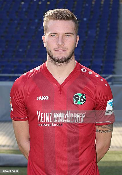 Andre Hoffmann poses during the team presentation of Hannover 96 at HDIArena on August 27 2014 in Hanover Germany