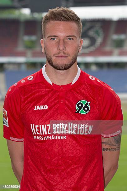 Andre Hoffmann poses during the team presentation of Hannover 96 at HDIArena on July 13 2015 in Hanover Germany