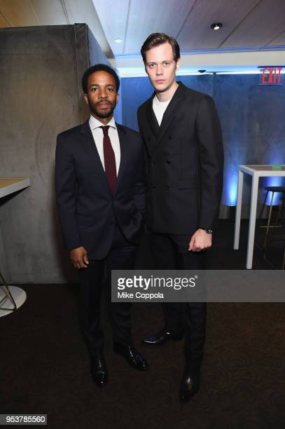 Andre Holland and Bill Skarsgard in the Hulu Upfront 2018 Green Room at The Hulu Theater at Madison Square Garden on May 2 2018 in New York City