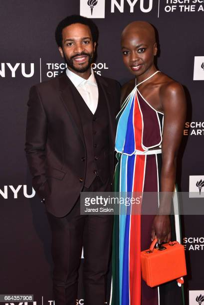 Andre Holland and Danai Gurira attend the Tisch School Gala 2017 at Cipriani 42nd Street on April 3 2017 in New York City