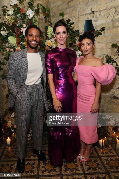 """Andre Holland, Rebecca Hall and Ruth Negga attend the post premiere reception for """"Passing"""" during the 65th BFI London Film Festival at Little House..."""