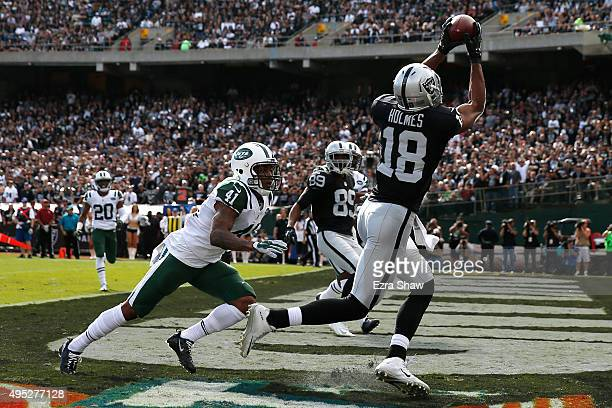 Andre Holmes of the Oakland Raiders makes a catch for a touchdown in the first quarter against the New York Jets during their NFL game at Oco...