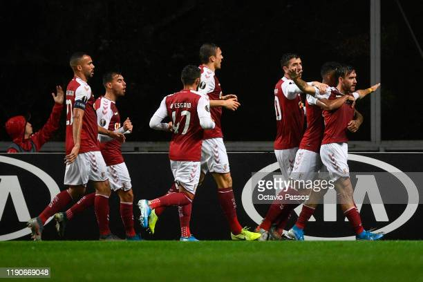 Andre Horta of Braga celebrates with teammates after scoring their teams first goal during the UEFA Europa League group K match between Sporting...