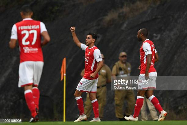 Andre Horta of SC Braga celebrates after scores a goal during the Preseason friendly between SC Braga and Newcastle on August 1 2018 in Braga Portugal