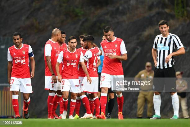 Andre Horta of SC Braga celebrates with team mates after scores a goal during the Preseason friendly between SC Braga and Newcastle on August 1 2018...