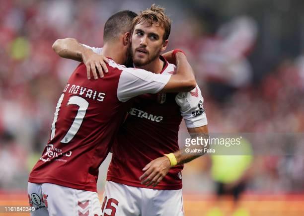Andre Horta of SC Braga celebrates with teammate Joao Novais of SC Braga after scoring a goal during the UEFA Europa League Third Qualifying Round...