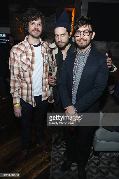 """Andre Hyland, Kentucker Audley and Jorma Taccone attend the AT&T At The Lift hosted """"LA Times"""" Party at The Lift on January 20, 2017 in Park City,..."""