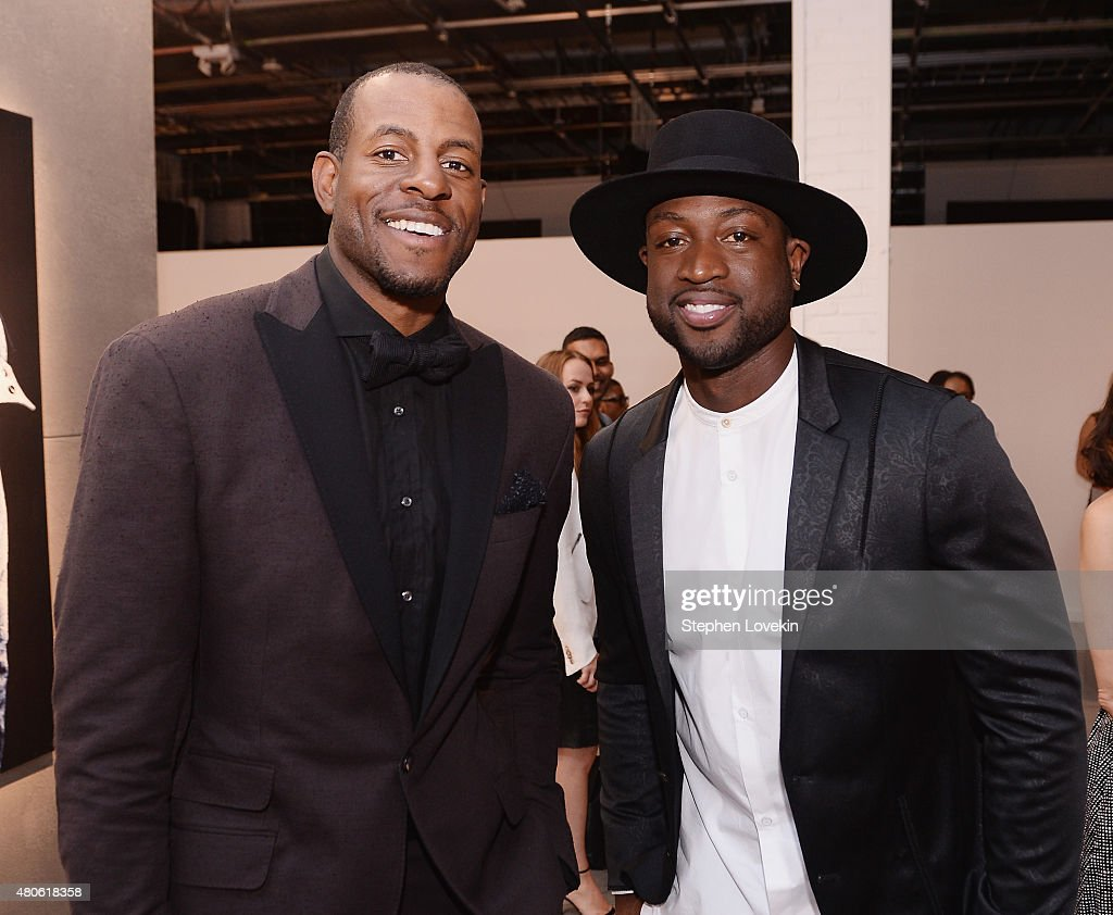 Andre Iguodala and Dwyane Wade attend New York Men's Fashion Week kick off party hosted by Amazon Fashion and CFDA at Amazon Imaging Studio on July 13, 2015 in Brooklyn, New York.
