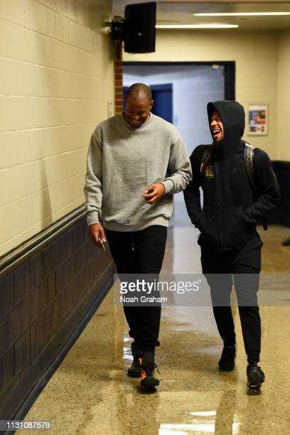 Andre Iguodala and Quinn Cook of the Golden State Warriors arrive to the game against the Oklahoma City Thunder on March 16 2019 at Chesapeake Energy...