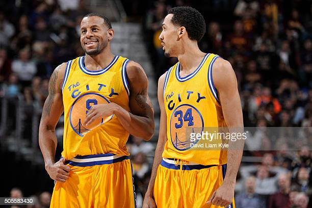 Andre Iguodala and Shaun Livingston of the Golden State Warriors during the game against the Cleveland Cavaliers on January 18 2016 at Quicken Loans...