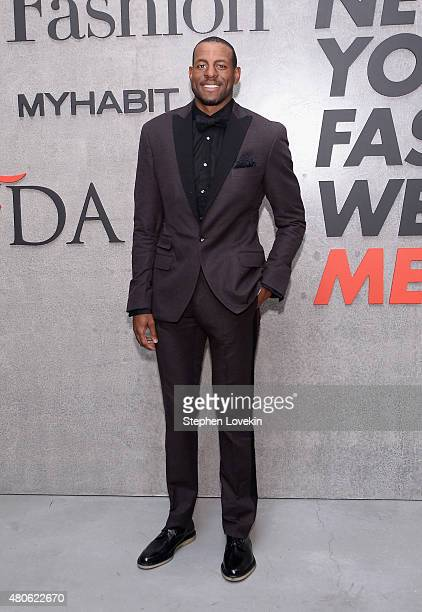 Andre Iguodala attends New York Men's Fashion Week kick off party hosted by Amazon Fashion and CFDA at Amazon Imaging Studio on July 13 2015 in...