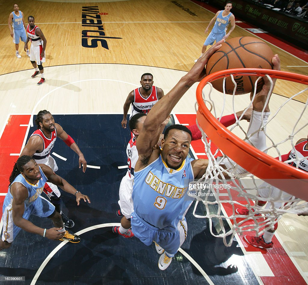 Denver Nuggets X Washington Wizards: Andre Iguodala Of The Denver Nuggets Attempts A Dunk