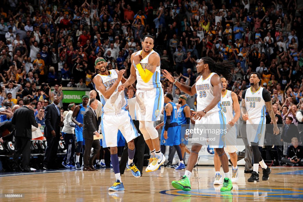 Andre Iguodala #9 of the Denver Nuggets celebrates after making a go-ahead layup late in the fourth quarter against the Dallas Mavericks, leading to his team's victory, on April 4, 2013 at the Pepsi Center in Denver, Colorado.