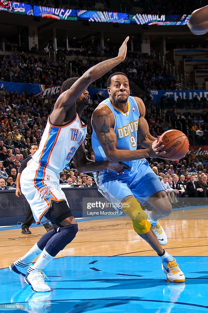 Andre Iguodala #9 of the Denver Nuggets drives against the Oklahoma City Thunder on January 16, 2013 at the Chesapeake Energy Arena in Oklahoma City, Oklahoma.