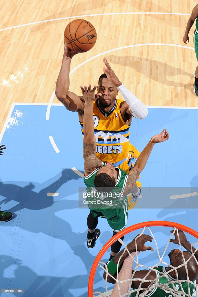 Andre Iguodala #9 of the Denver Nuggets drives to the basket against the Boston Celtics on February 19, 2013 at the Pepsi Center in Denver, Colorado.