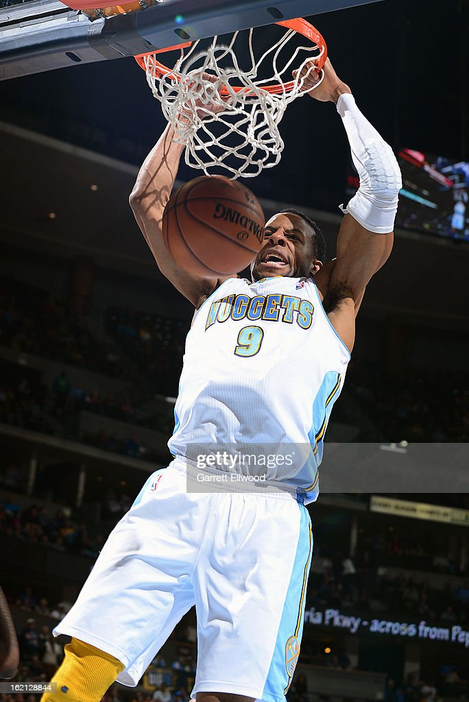 Andre Iguodala #9 of the Denver Nuggets dunks the ball against the New Orleans Hornets on February 1, 2013 at the Pepsi Center in Denver, Colorado.