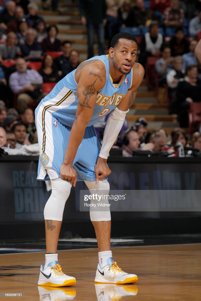 Andre Iguodala #9 of the Denver Nuggets in a game against the Sacramento Kings on March 5, 2013 at Sleep Train Arena in Sacramento, California.