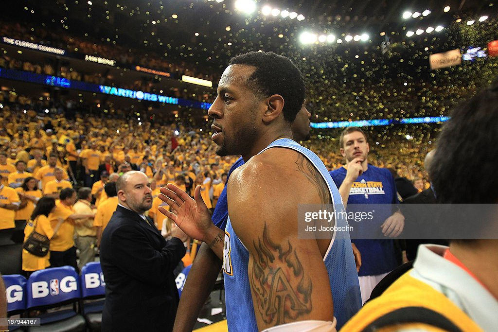 Andre Iguodala #9 of the Denver Nuggets leaves the court after losing to the Golden State Warriors during Game Six of the Western Conference Quarterfinals of the 2013 NBA Playoffs at ORACLE Arena on May 2, 2013 in Oakland, California.