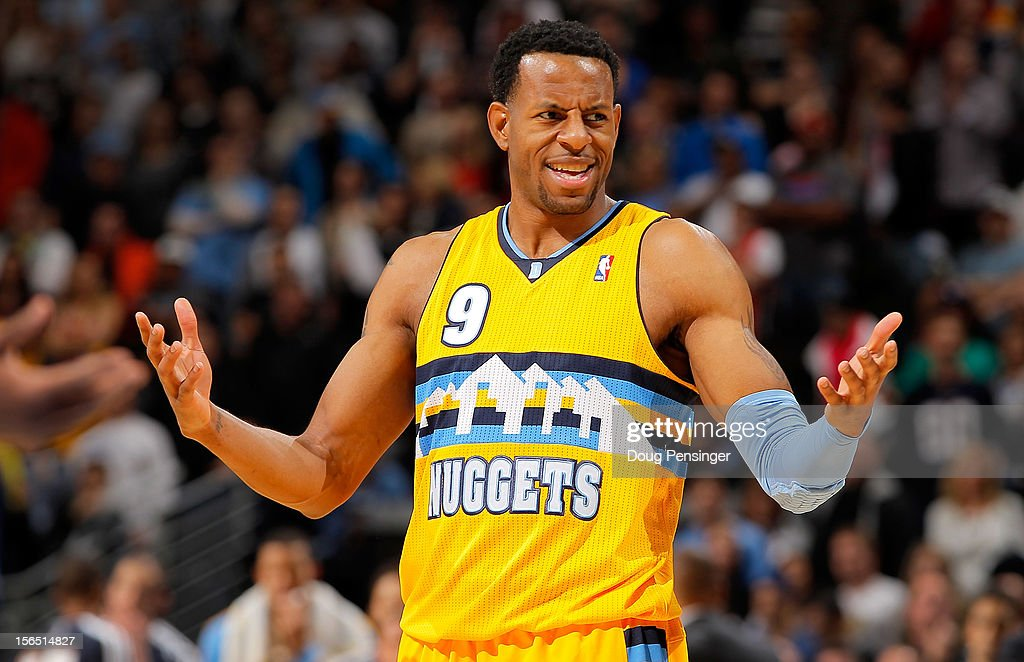 Andre Iguodala #9 of the Denver Nuggets reacts to a call by the officials as the Nuggets face the Miami Heat at the Pepsi Center on November 15, 2012 in Denver, Colorado. The Heat defeated the Nuggets 98-93.