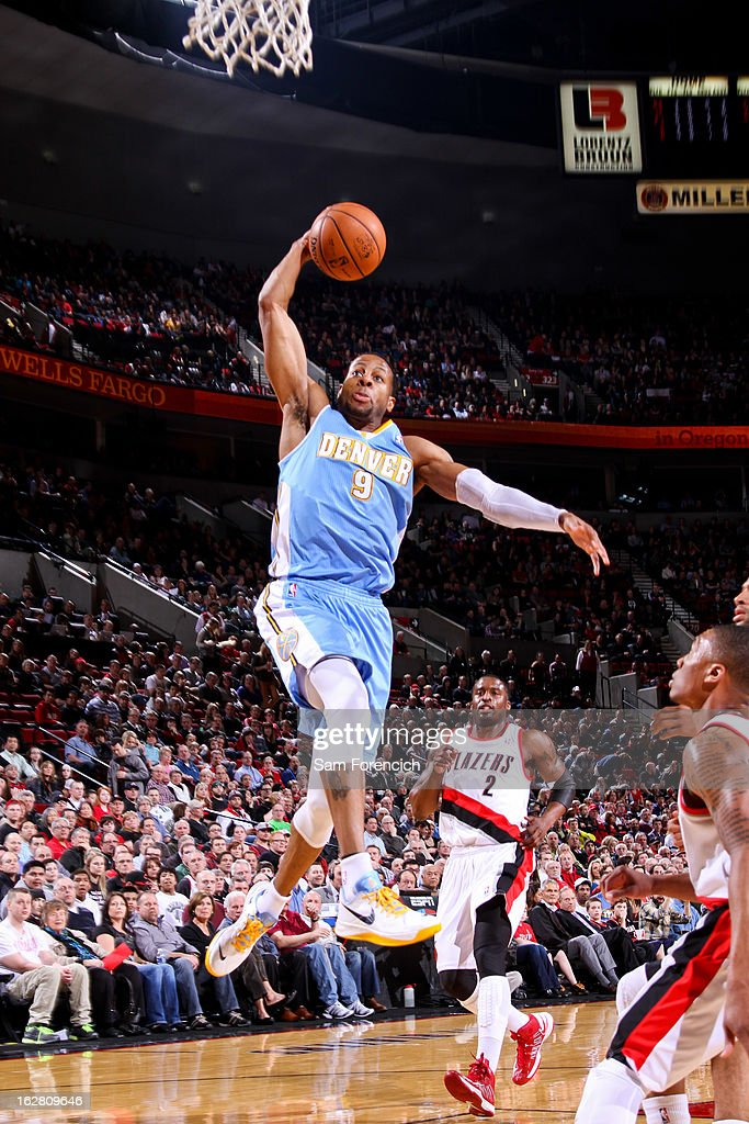 Andre Iguodala #9 of the Denver Nuggets rises for a dunk against the Portland Trail Blazers on February 27, 2013 at the Rose Garden Arena in Portland, Oregon.