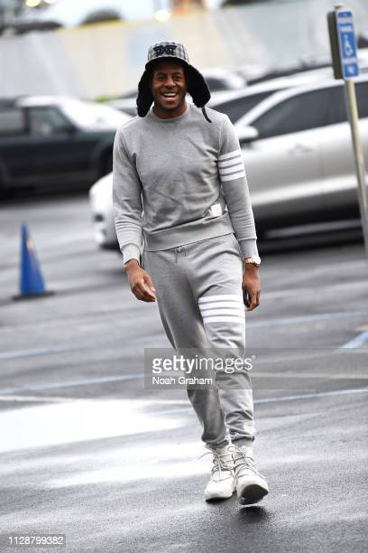 Andre Iguodala of the Golden State Warriors arrives at the arena before the game against the Boston Celtics on March 5 2019 at ORACLE Arena in...