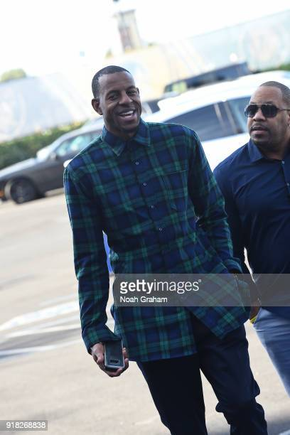 Andre Iguodala of the Golden State Warriors arrives at the arena before the game against the San Antonio Spurs on February 10 2018 at ORACLE Arena in...