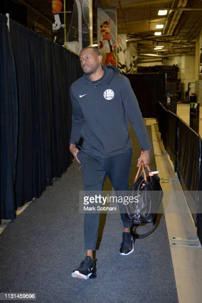 Andre Iguodala of the Golden State Warriors arrives to the arena before the game against the San Antonio Spurs on March 18 2019 at the ATT Center in...