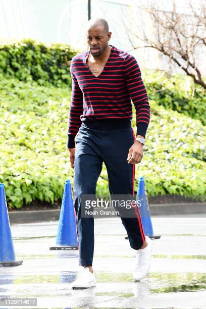 Andre Iguodala of the Golden State Warriors arrives to the arena prior to the game against the Phoenix Suns on March 10 2019 at ORACLE Arena in...