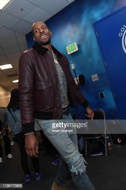 Andre Iguodala of the Golden State Warriors arrives to the arena prior to the game against the Denver Nuggets on March 8 2019 at ORACLE Arena in...