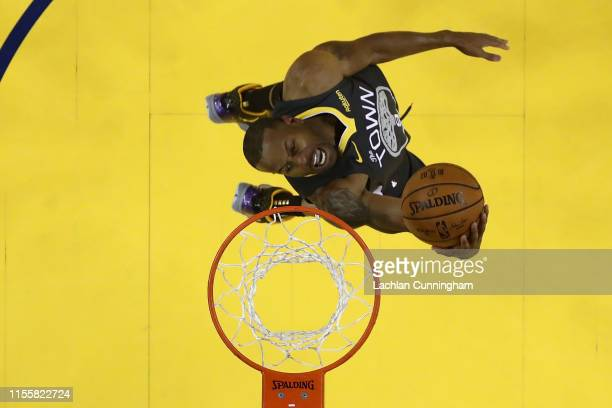 Andre Iguodala of the Golden State Warriors attempts a shot against the Toronto Raptors during Game Six of the 2019 NBA Finals at ORACLE Arena on...