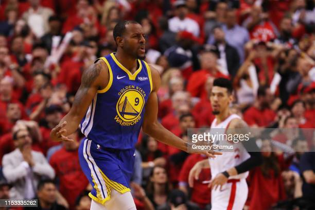 Andre Iguodala of the Golden State Warriors celebrates a basket late in the game against the Toronto Raptors during Game Two of the 2019 NBA Finals...
