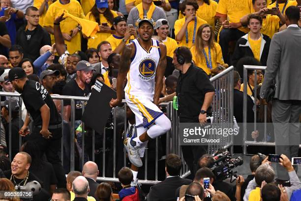 Andre Iguodala of the Golden State Warriors celebrates after the Warriors defeated the Cleveland Cavaliers in Game Five of the 2017 NBA Finals on...