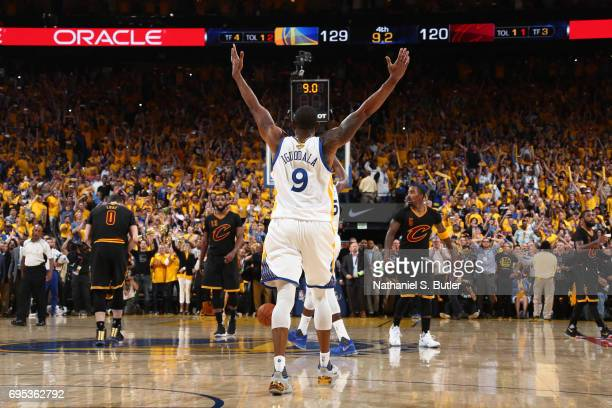 Andre Iguodala of the Golden State Warriors celebrates after winning Game Five of the 2017 NBA Finals against the Cleveland Cavaliers on June 12 2017...