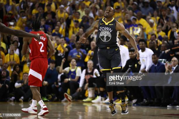 Andre Iguodala of the Golden State Warriors celebrates the play against the Toronto Raptors in the second half during Game Six of the 2019 NBA Finals...