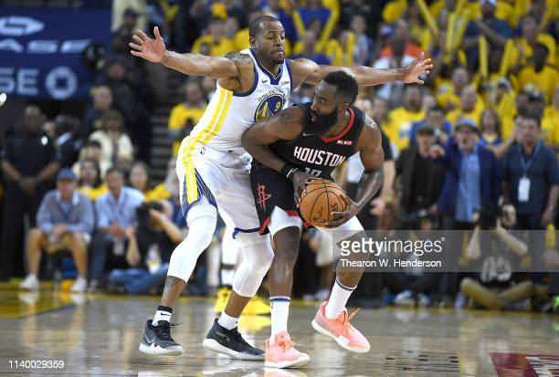 Andre Iguodala of the Golden State Warriors closely guards James Harden of the Houston Rockets during Game One of the Second Round of the 2019 NBA...