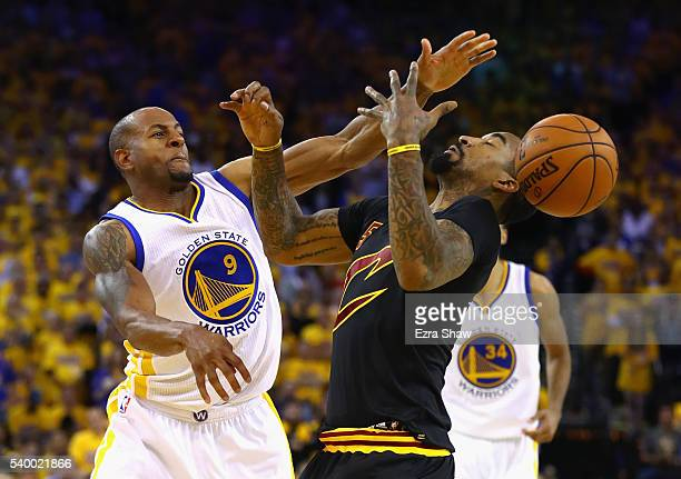 Andre Iguodala of the Golden State Warriors defends JR Smith of the Cleveland Cavaliers during the second half in Game 5 of the 2016 NBA Finals at...