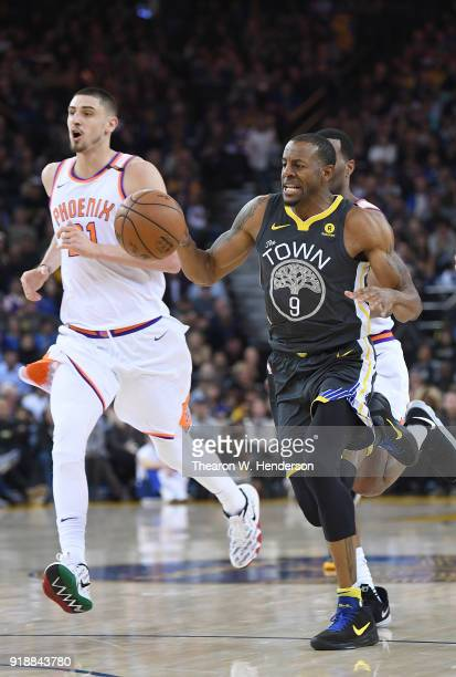 Andre Iguodala of the Golden State Warriors dribbles the ball up court on a fast break against the Phoenix Suns during an NBA basketball game at...