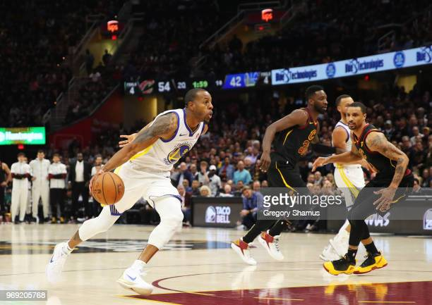 Andre Iguodala of the Golden State Warriors drives against the Cleveland Cavaliers during Game Three of the 2018 NBA Finals at Quicken Loans Arena on...