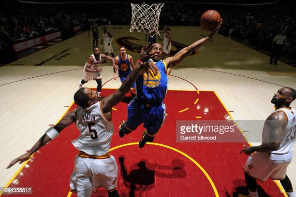 Andre Iguodala of the Golden State Warriors drives to the basket against the Cleveland Cavaliers in Game Four of the 2017 NBA Finals on June 9 2017...