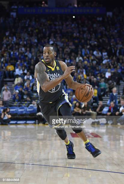 Andre Iguodala of the Golden State Warriors drives towards the basket against the Phoenix Suns during an NBA basketball game at ORACLE Arena on...