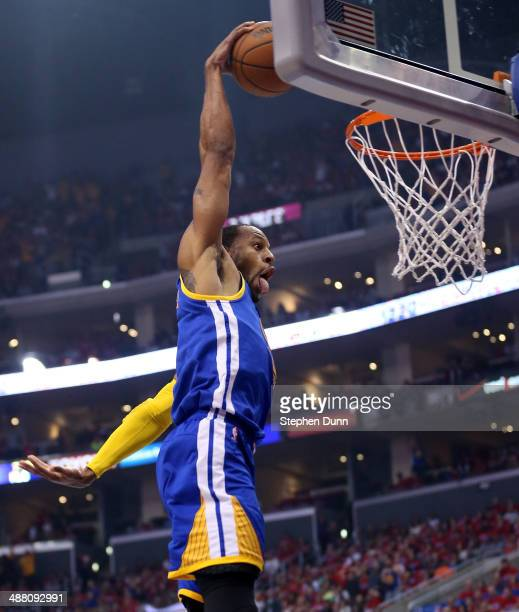 Andre Iguodala of the Golden State Warriors dunks against the Los Angeles Clippers in Game Seven of the Western Conference Quarterfinals during the...