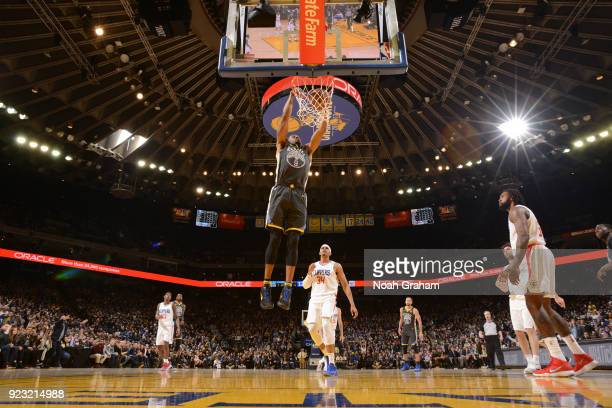 Andre Iguodala of the Golden State Warriors dunks against the LA Clippers on February 22 2018 at ORACLE Arena in Oakland California NOTE TO USER User...
