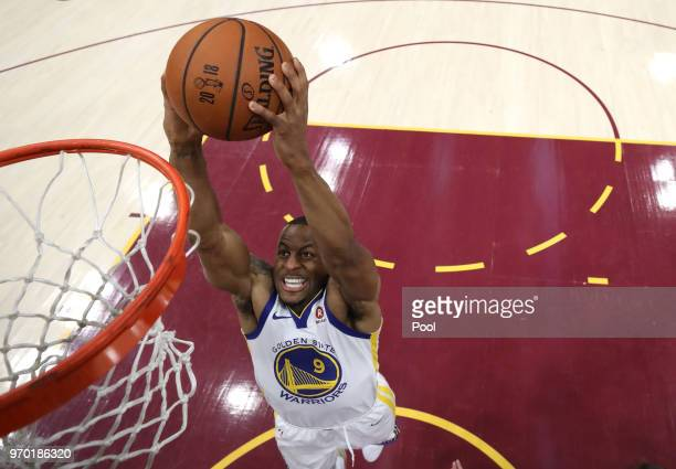 Andre Iguodala of the Golden State Warriors dunks in the fourth quarter against the Cleveland Cavaliers during Game Four of the 2018 NBA Finals at...