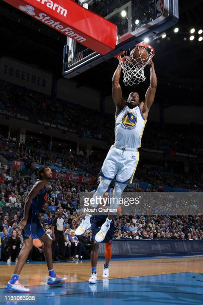 Andre Iguodala of the Golden State Warriors dunks the ball against the Oklahoma City Thunder on March 16 2019 at Chesapeake Energy Arena in Oklahoma...