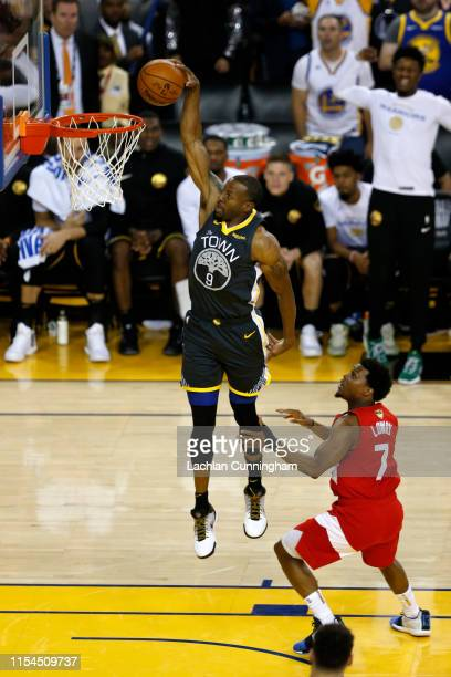 Andre Iguodala of the Golden State Warriors dunks the ball against the Toronto Raptors during Game Four of the 2019 NBA Finals at ORACLE Arena on...