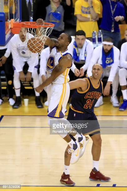 Andre Iguodala of the Golden State Warriors dunks the ball against the Cleveland Cavaliers in Game 1 of the 2017 NBA Finals at ORACLE Arena on June 1...